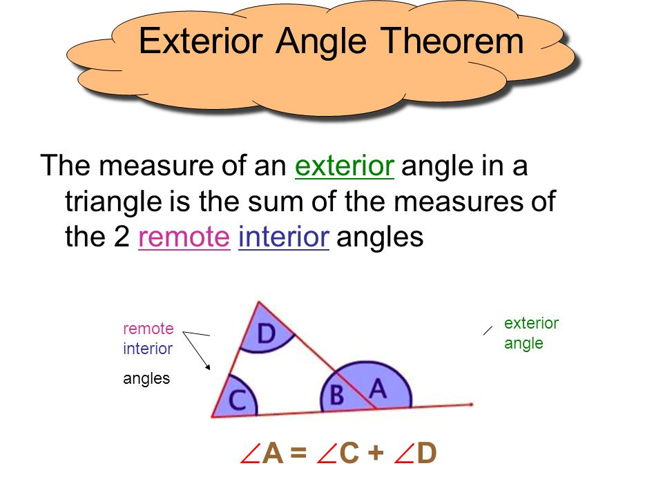 Triangle sum theorem exterior angle theorem ppt video - Sum of the exterior angles of a triangle ...