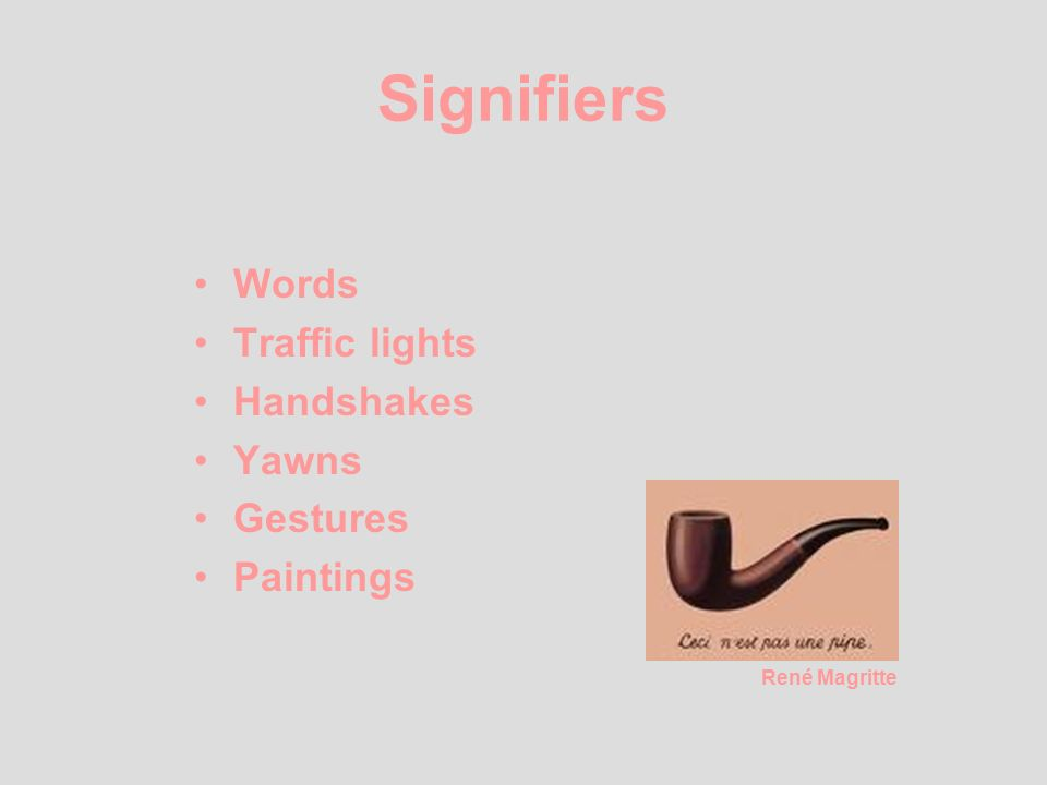 Signifiers Words Traffic lights Handshakes Yawns Gestures Paintings