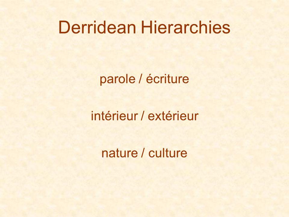 Derridean Hierarchies