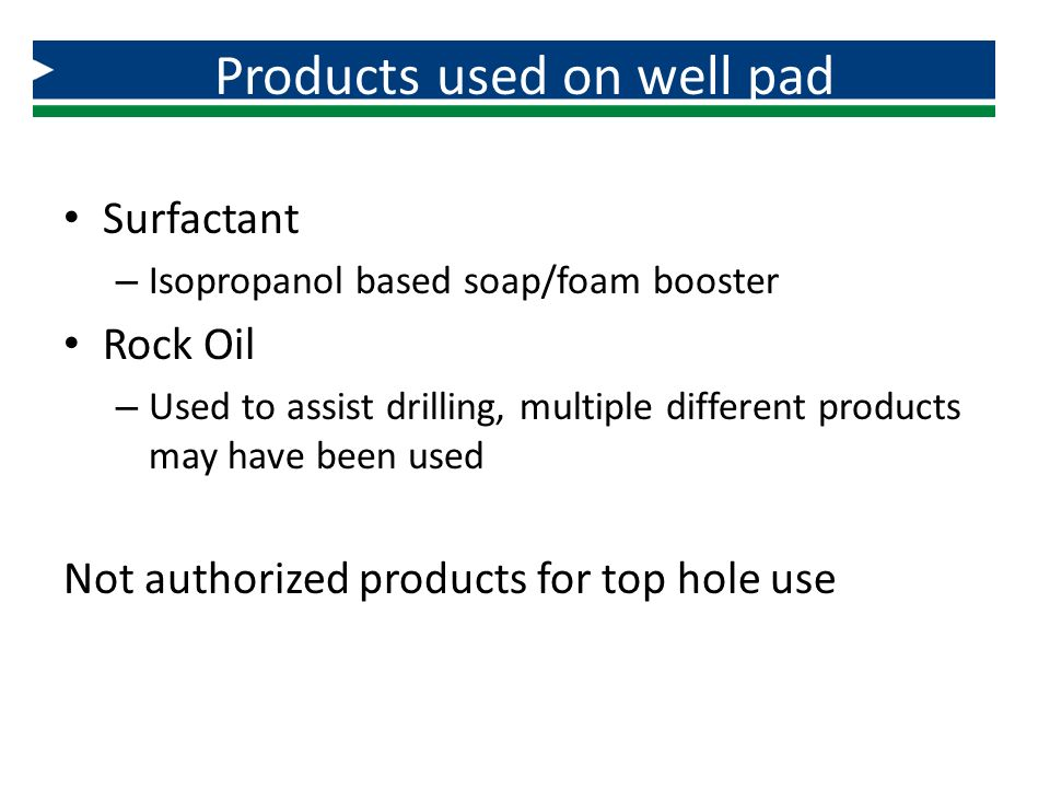 Products used on well pad