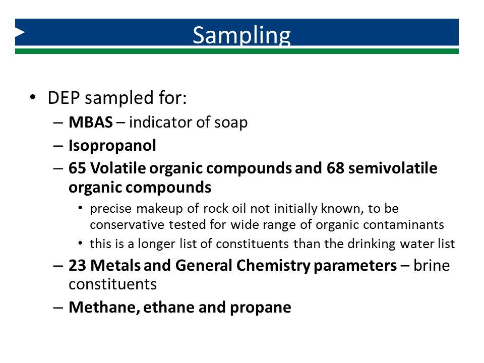 Sampling DEP sampled for: MBAS – indicator of soap Isopropanol