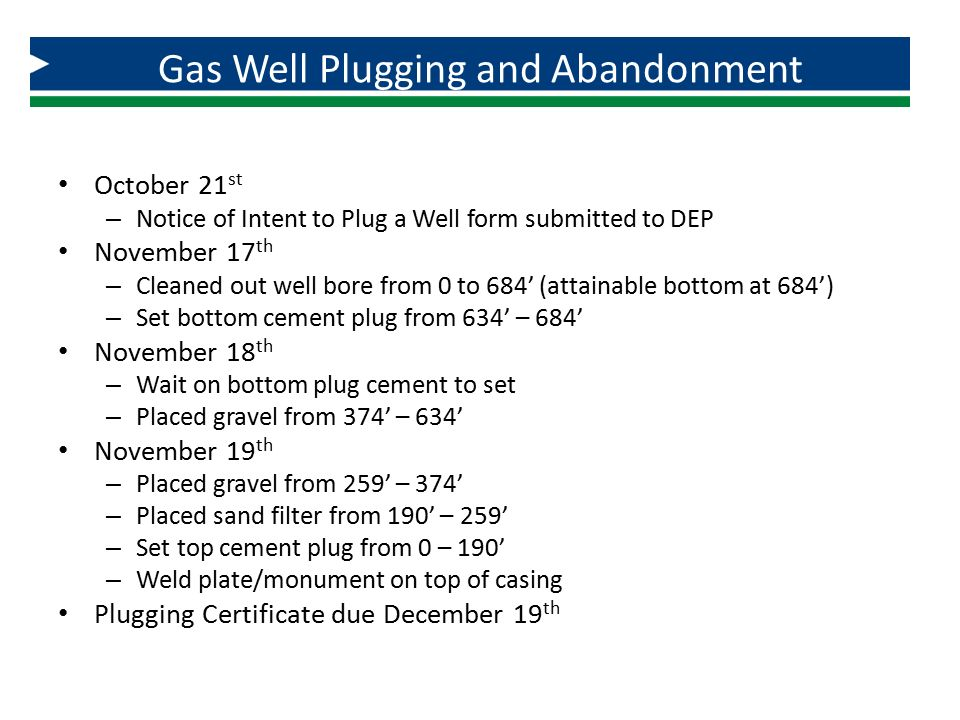 Gas Well Plugging and Abandonment