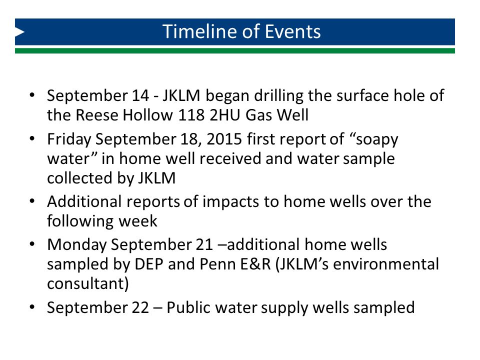 Timeline of Events September 14 - JKLM began drilling the surface hole of the Reese Hollow 118 2HU Gas Well.