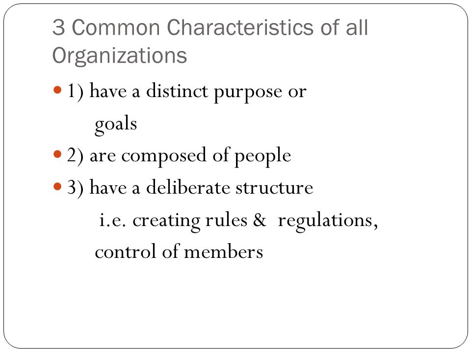 3 Common Characteristics of all Organizations