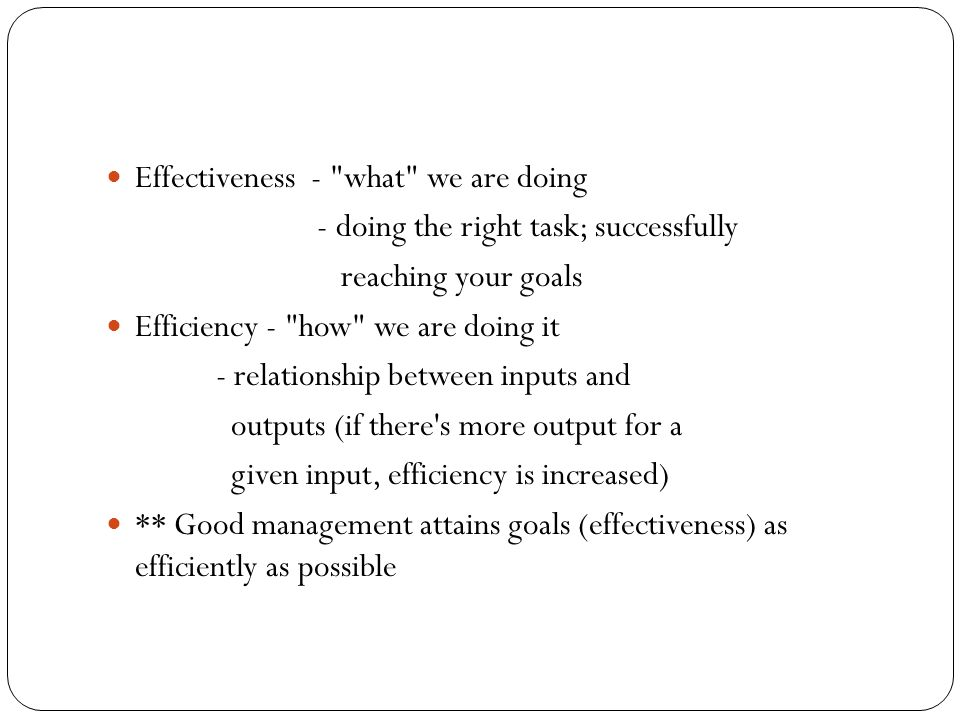 Effectiveness - what we are doing