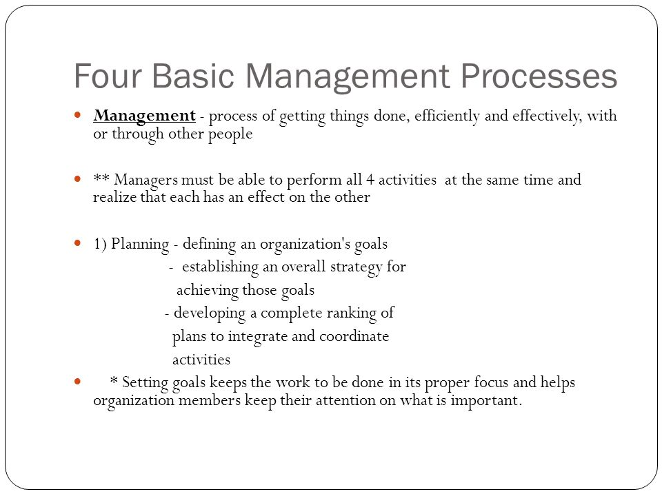 Four Basic Management Processes