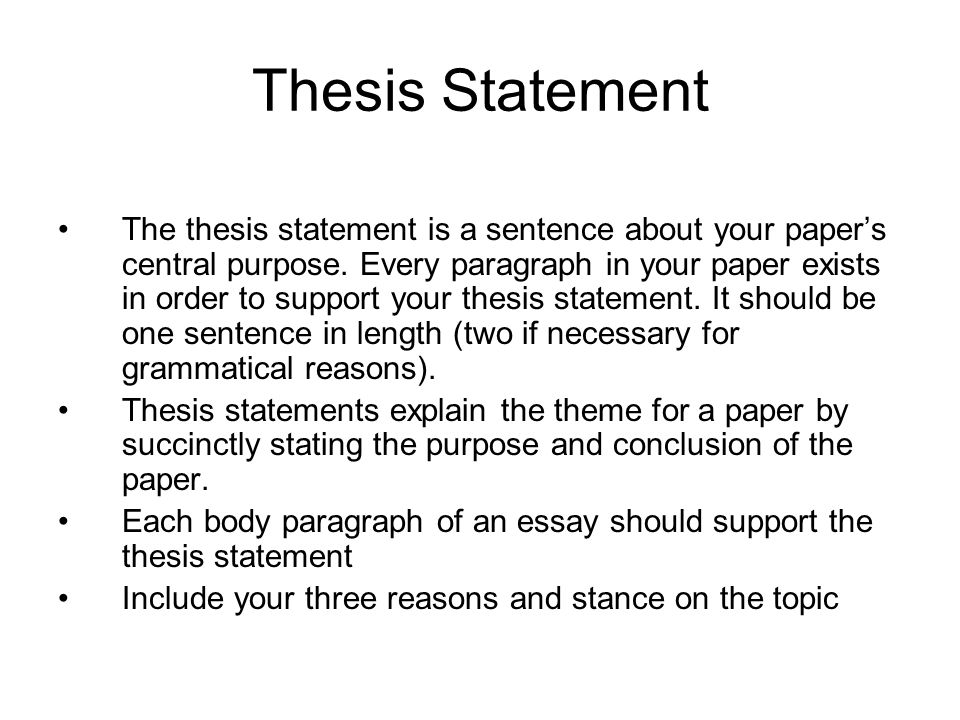 purpose of a thesis statement One of the most important components of most scientific papers, whether essay or research paper, is the thesis statement.