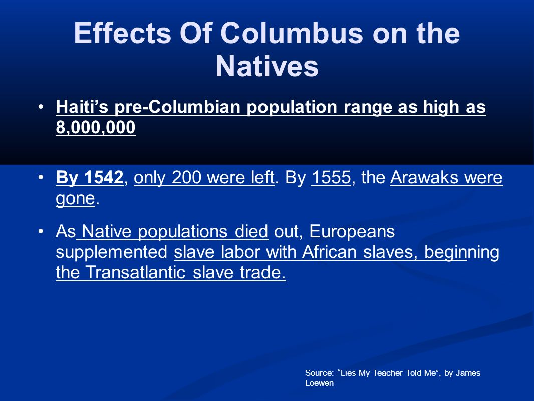 the effects of christopher columbus The earliest explorers in the western hemisphere left a legacy that would shape the development of the americas permanently no matter what they.