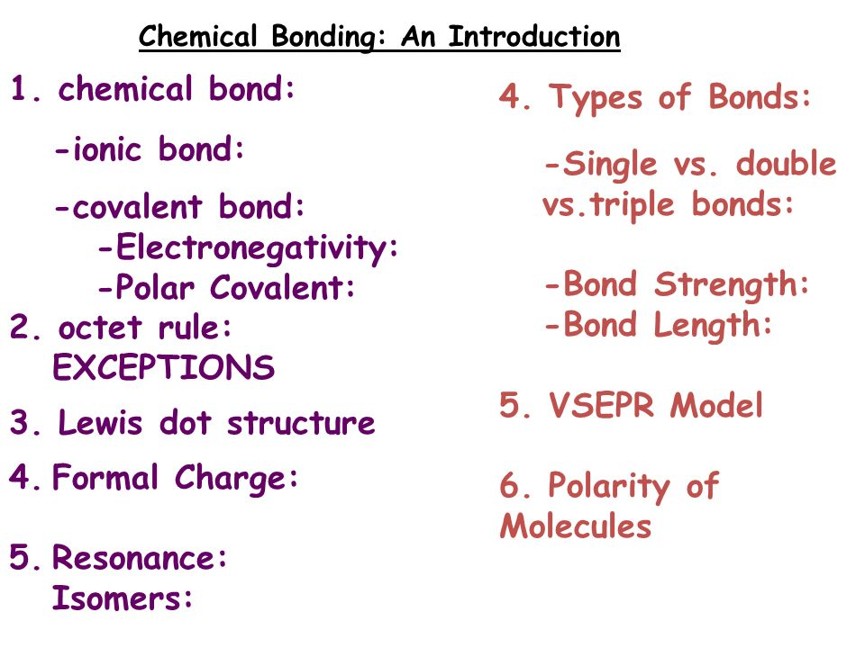 1. chemical bond: -ionic bond: 4. Types of Bonds ...