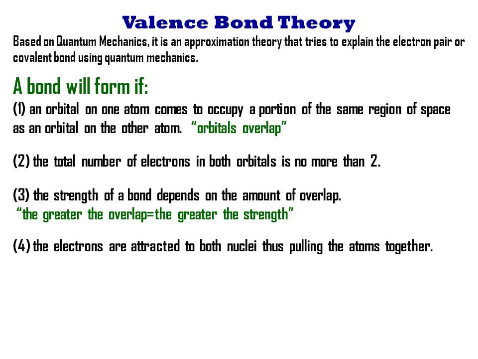 A Bond Will Form If: Valence Bond Theory