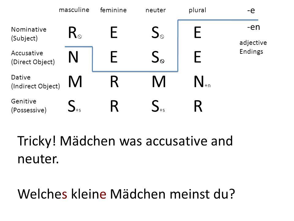 R E S N M R N+n S+s Tricky! Mädchen was accusative and neuter.