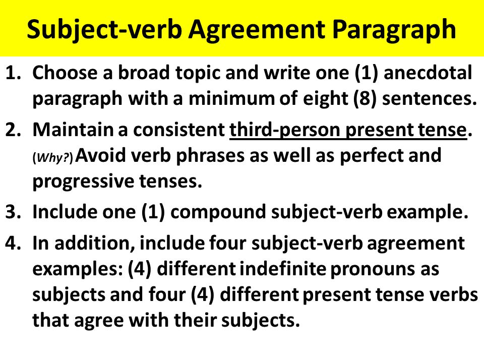 Subject verb agreement ppt video online download 2 subject verb agreement paragraph platinumwayz