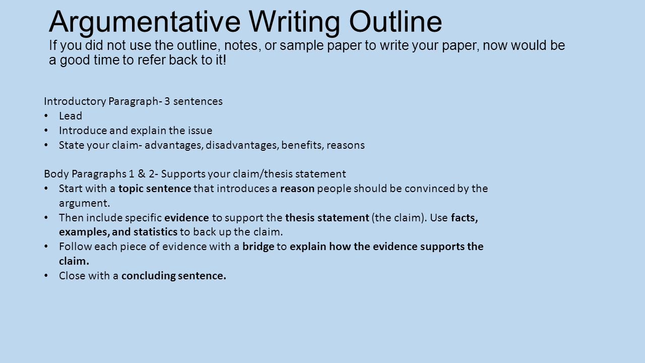 Argumentative essay writing notes