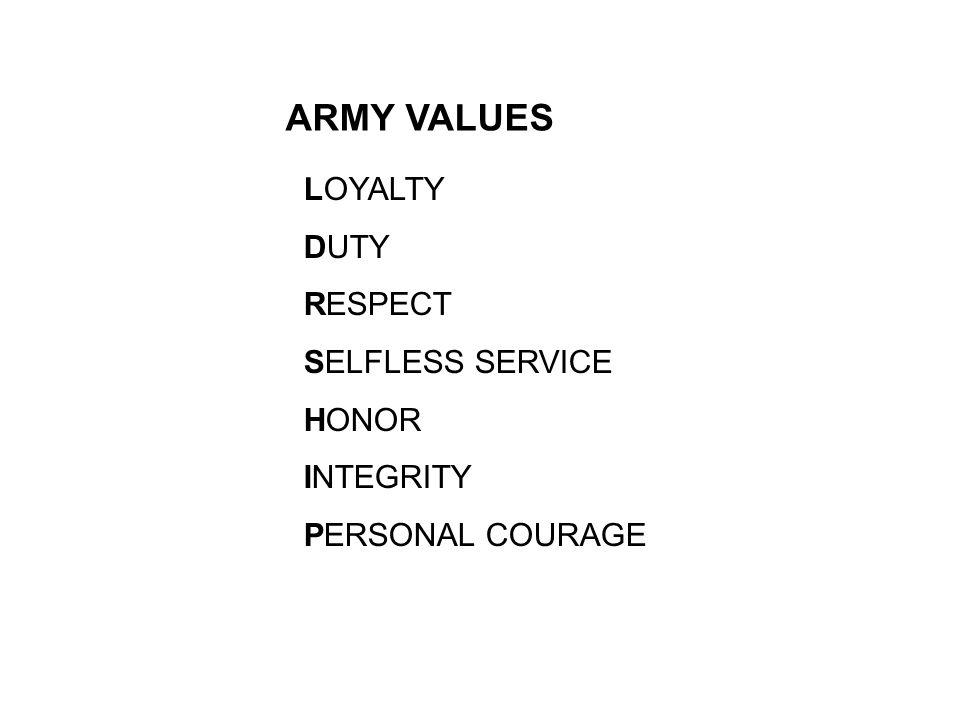 7 army values honor View notes - military science midtermterm: definition: 7 army values loyalty duty respect selfless service honor integrity personal courage term: definition: 4 tenants of warrior ethos -i will.