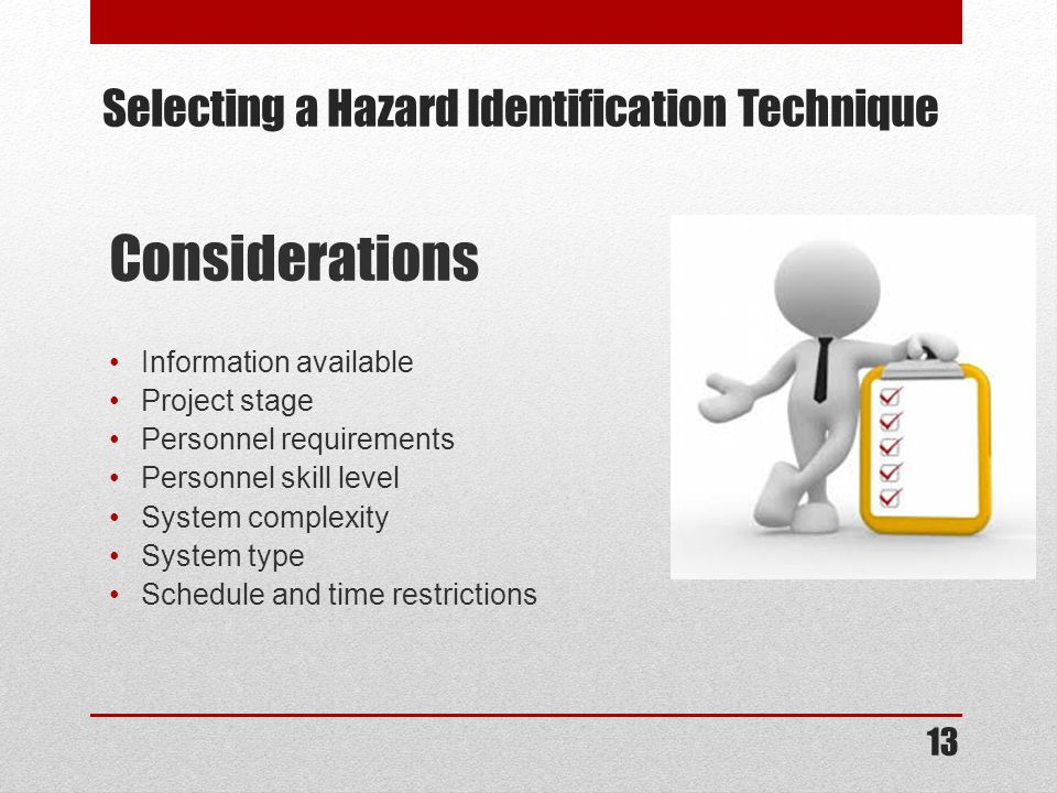 Selecting a Hazard Identification Technique