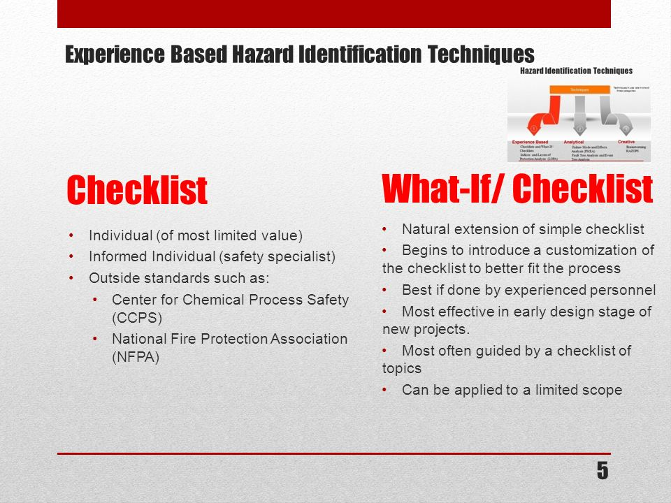 Experience Based Hazard Identification Techniques