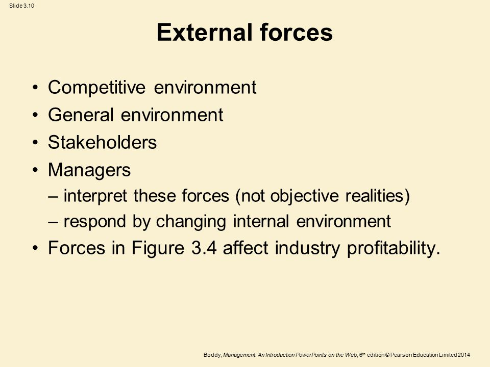 External forces Competitive environment General environment