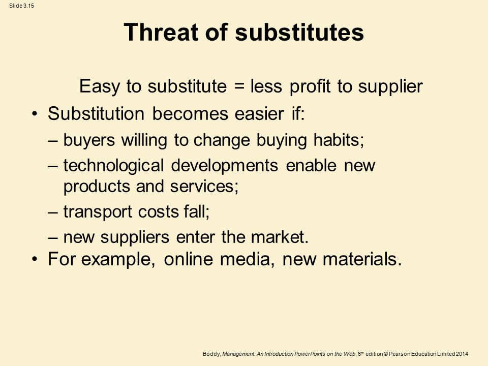 Easy to substitute = less profit to supplier