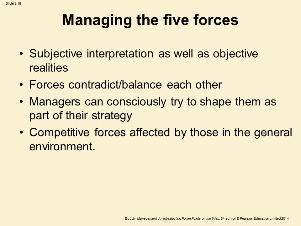 Managing the five forces