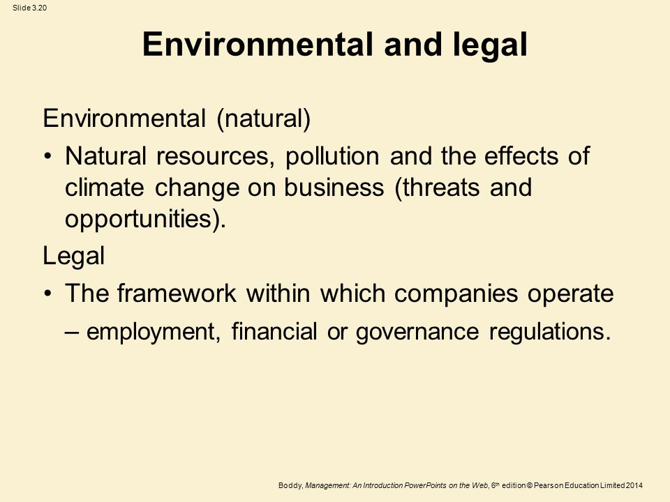 Environmental and legal