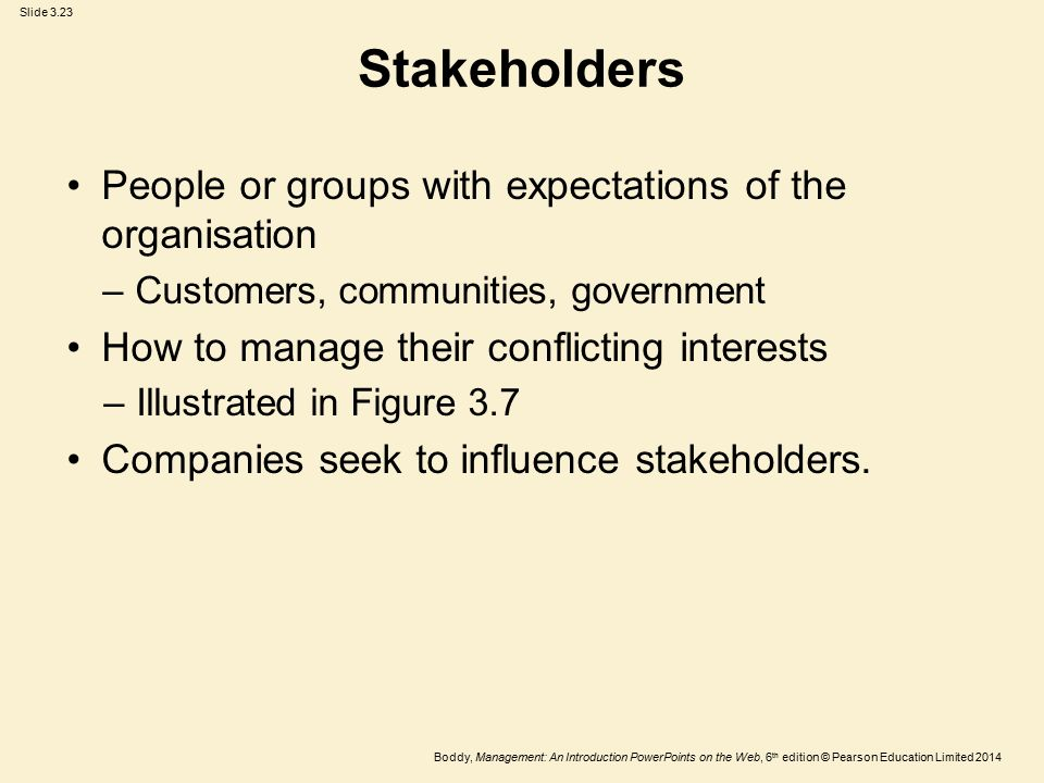 Stakeholders People or groups with expectations of the organisation