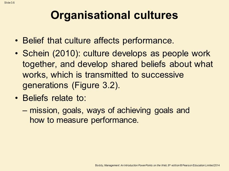 Organisational cultures