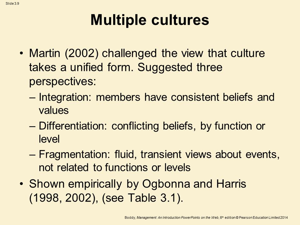 Multiple cultures Martin (2002) challenged the view that culture takes a unified form. Suggested three perspectives: