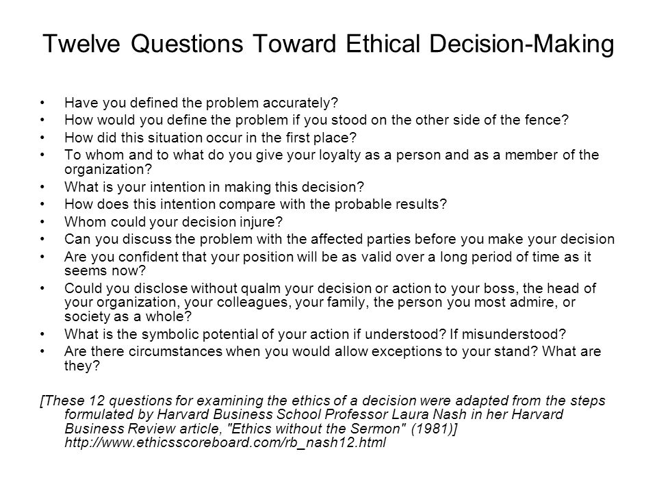 decision making questions