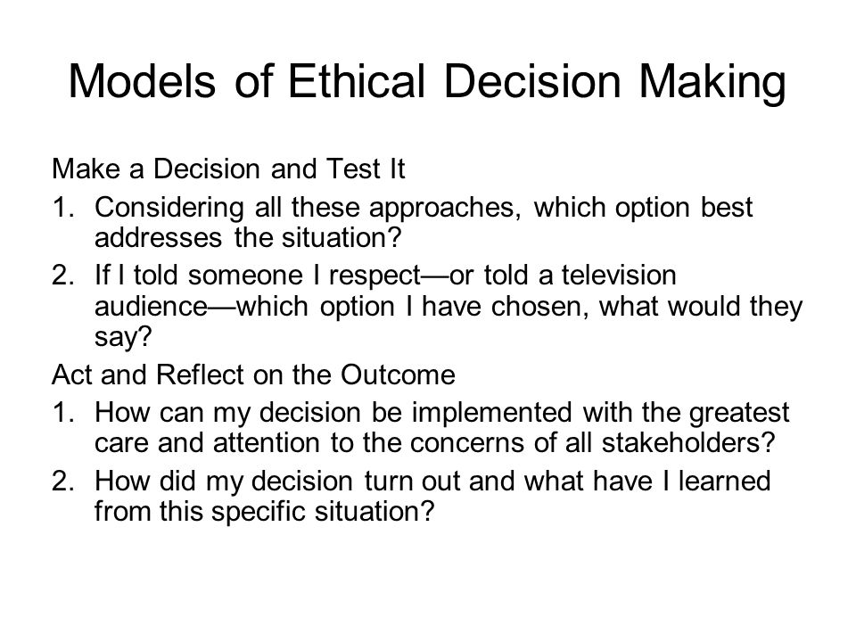 ethical decision reflection The purpose of the document ethical decision-making for registered nurses  ethical decision-making is an exercise in ethical reflection,  ethical decision.