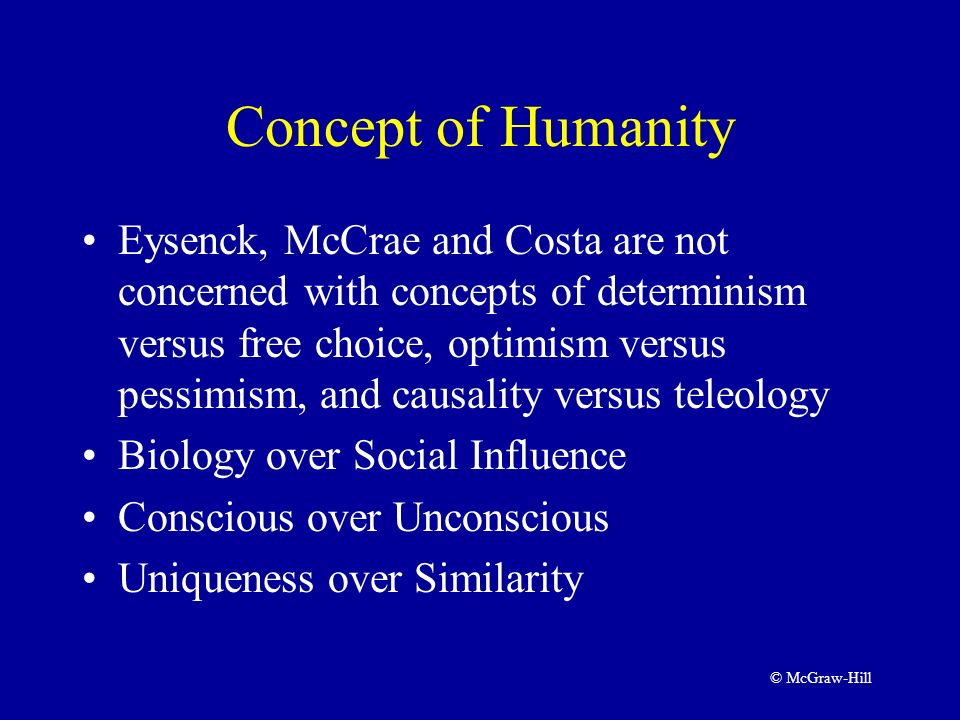 eysenck mccrae and costa trait and factor theory Eysenck's theory of personality is based on  and comes from paul costa's and robert mccrae's  in each state fall along the five factor trait of .