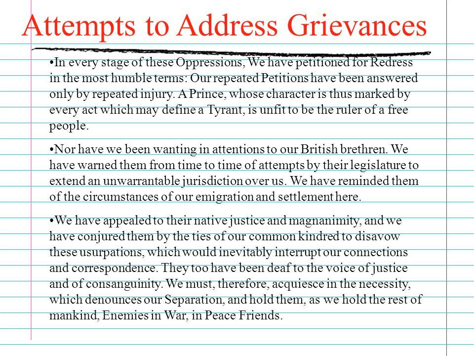 27 grievances declaration