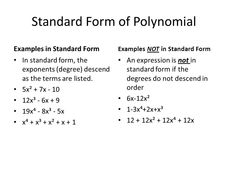What Is The Standard Form Of A Polynomial Dolapgnetband