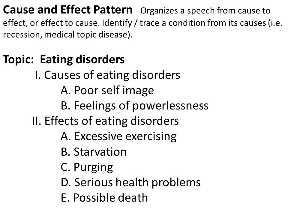cause and effect essay on eating disorders Negative effects include dissatisfaction, self-harm, depression, eating disorders, low self-esteem, and body dysmorphic disorder this is a huge problem in today's society but can be changed the media can stop airbrushing, and can feature women of all shapes and sizes in advertisements.
