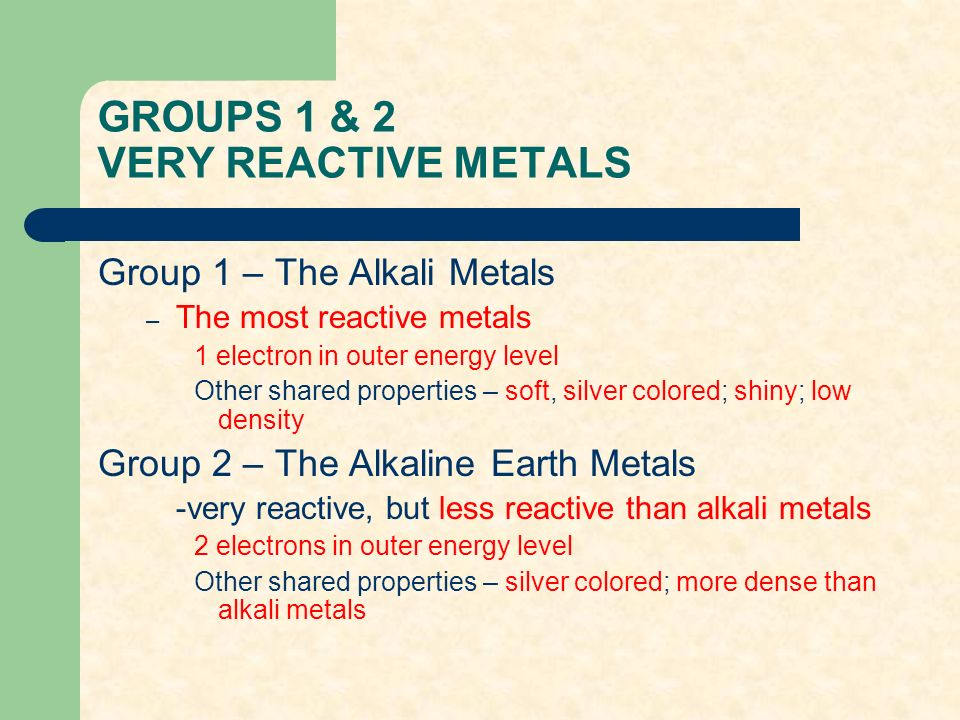groups 1 2 very reactive metals - Periodic Table Alkali Metals Reactivity