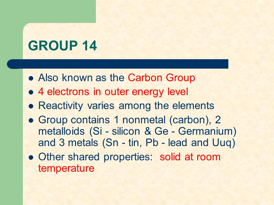 general summary of elements carbon silicone germanium tin lead and ununquadium Silicon (si), germanium (ge), tin (sn), lead (pb), and ununquadium (uuq) all the elements are in the p block the carbon family elements are non-metals.