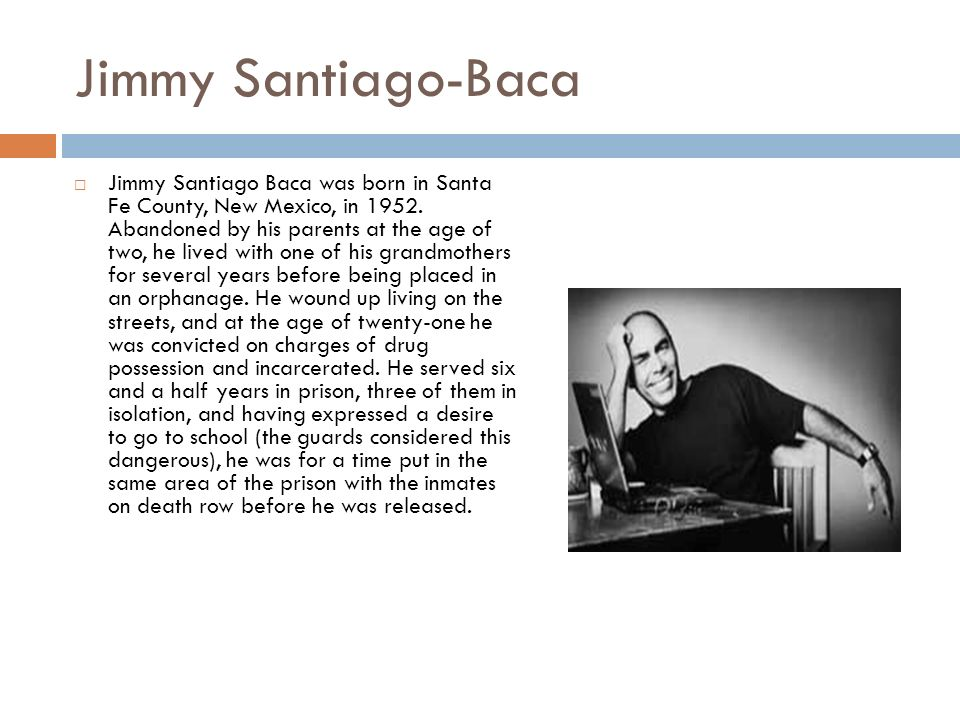 poetry of jimmy santiago baca Other books by jimmy santiago baca poetry selected poems/poemas selectos rita and julia spring poems along the rio grande winter poems along the rio grande.