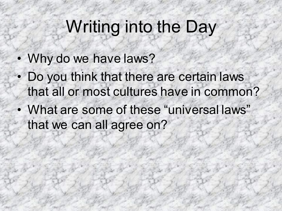 why do we have laws in Hello my friend to be honest the reason why civilisations have laws is because so that we abide by these laws and not to break them, but to be honest i dont abide by any goverment laws especially if the law gets broken by man/men who control/apart of these goverments and the reason.