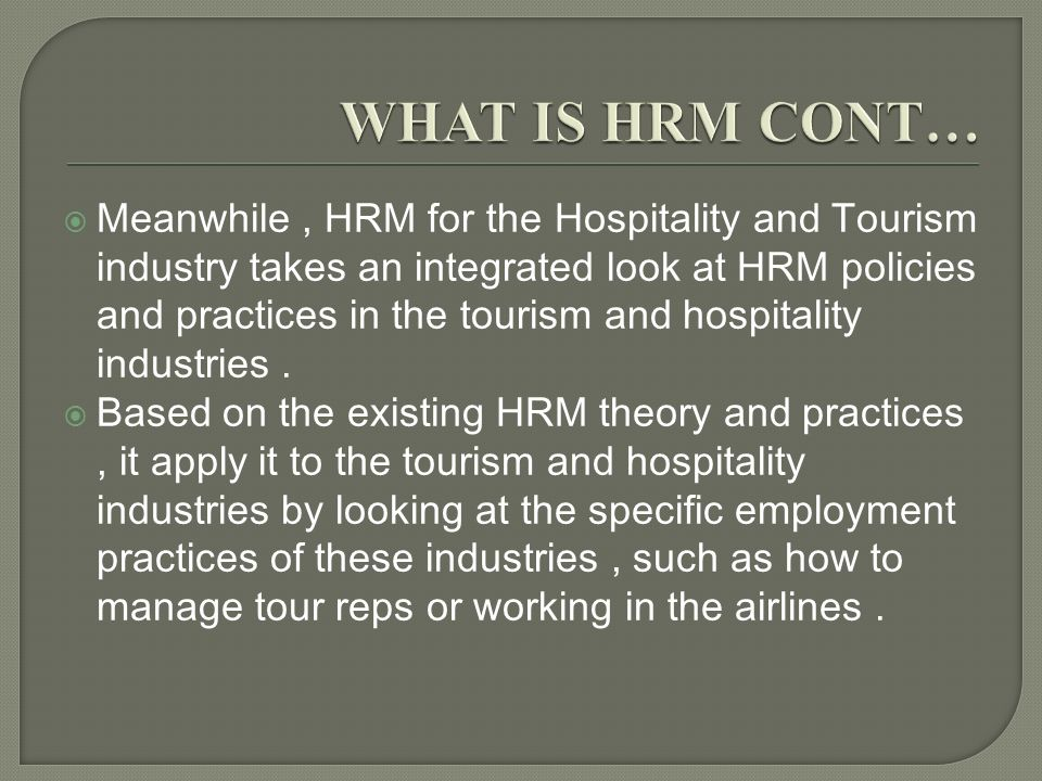 human resource management in the hospitality and tourism industry pdf