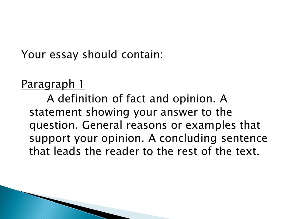 summative assessment guidelines ppt video online  your essay should contain paragraph 1 a definition of fact and opinion