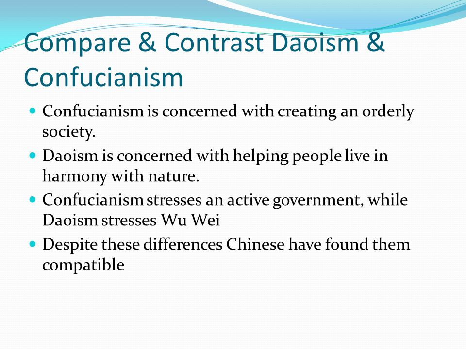 a comparison of the religion of confucianism and daoism What is the difference between taoism and confucianism (1)  rule in philosophy of ethics in comparison with the famous  contrast confucianism and daoism.