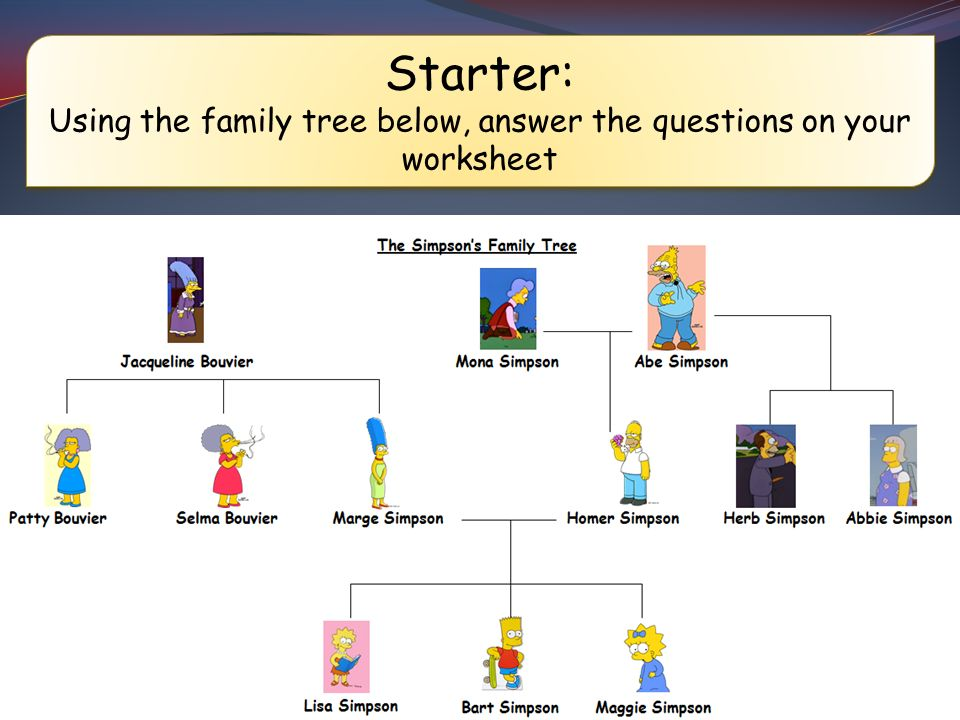Using the family tree below answer the questions on your – Family Tree Worksheet