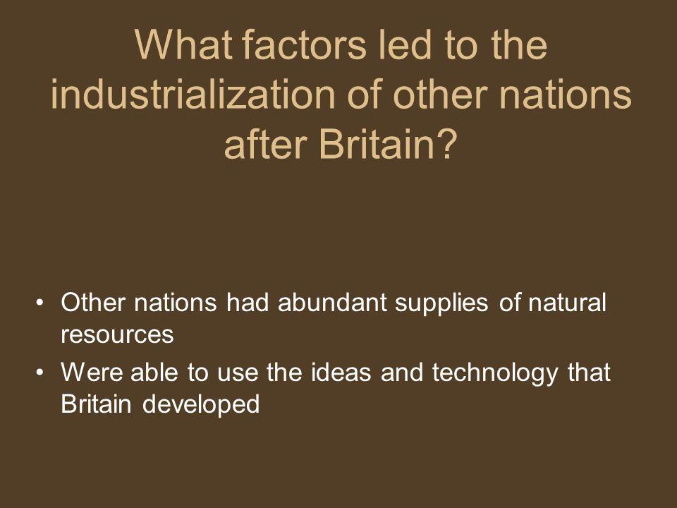 Natural Resources Needed British Industrialization