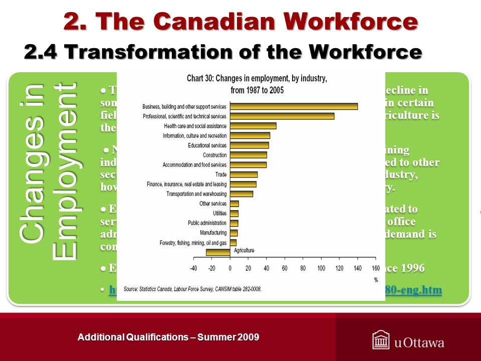 2. The Canadian Workforce Additional Qualifications – Summer 2009