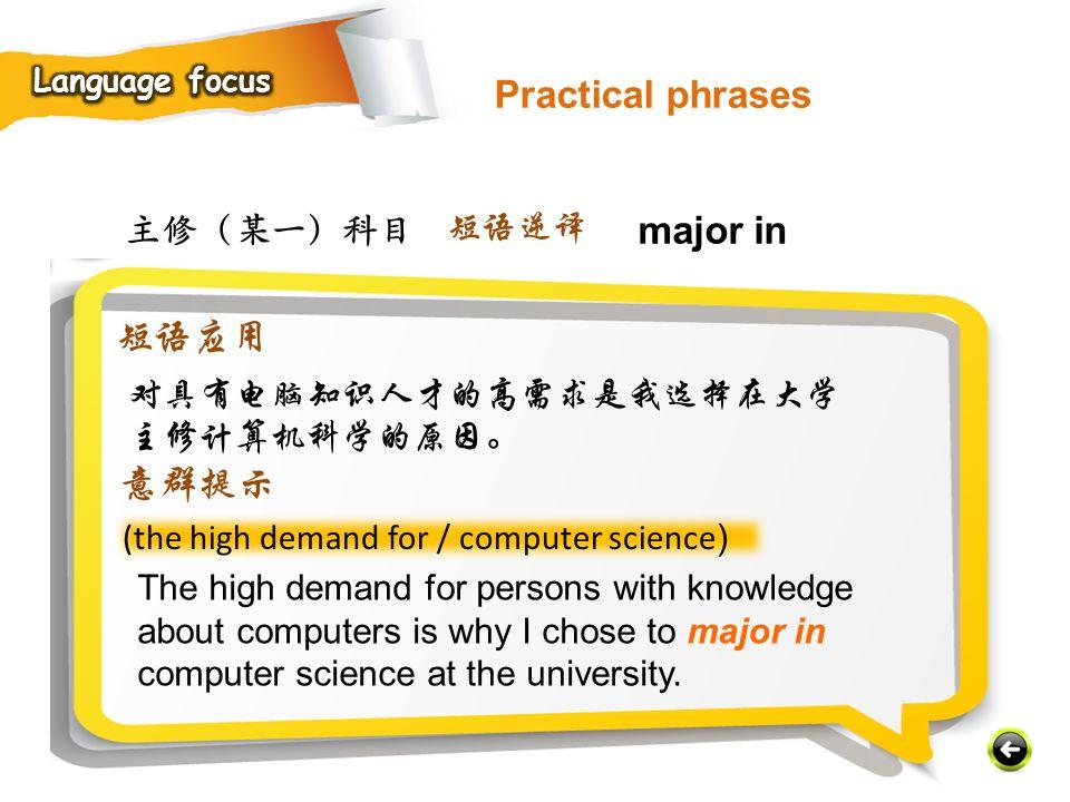 Practical phrases major in 短语应用 意群提示 主修(某一)科目 短语逆译