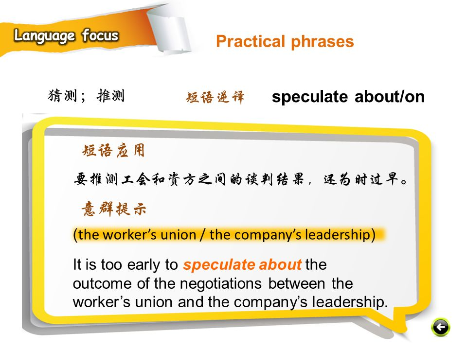 Practical phrases 短语应用 意群提示 猜测;推测 短语逆译 speculate about/on