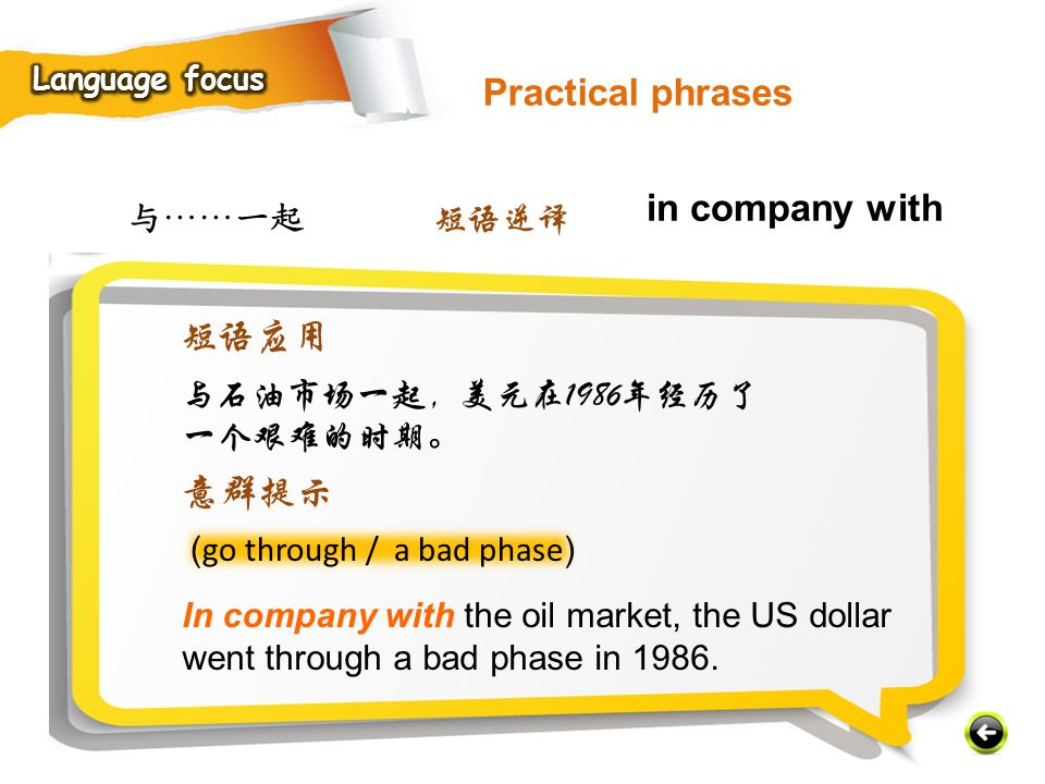 Practical phrases in company with 短语应用 意群提示 与……一起 短语逆译