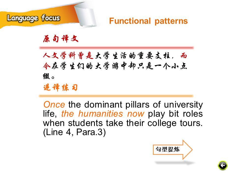 Language focus Functional patterns. 原句译文. 人文学科曾是大学生活的重要支柱,而今在学生们的大学游中却只是一个小点缀。 逆译练习.