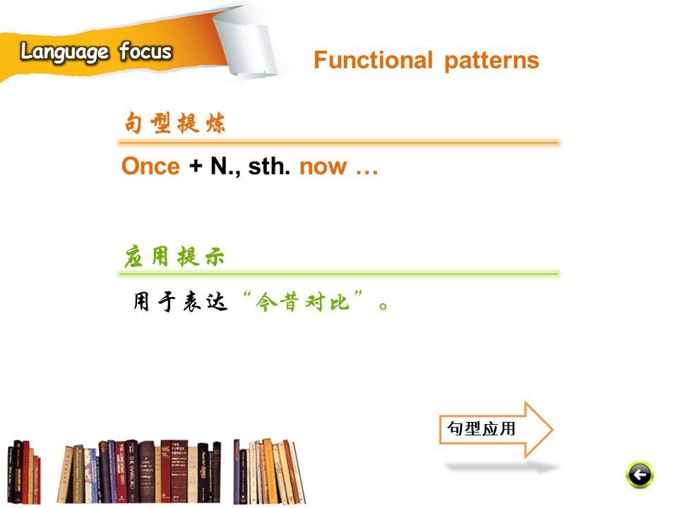 句型提炼 应用提示 Functional patterns Once + N., sth. now … 用于表达 今昔对比 。