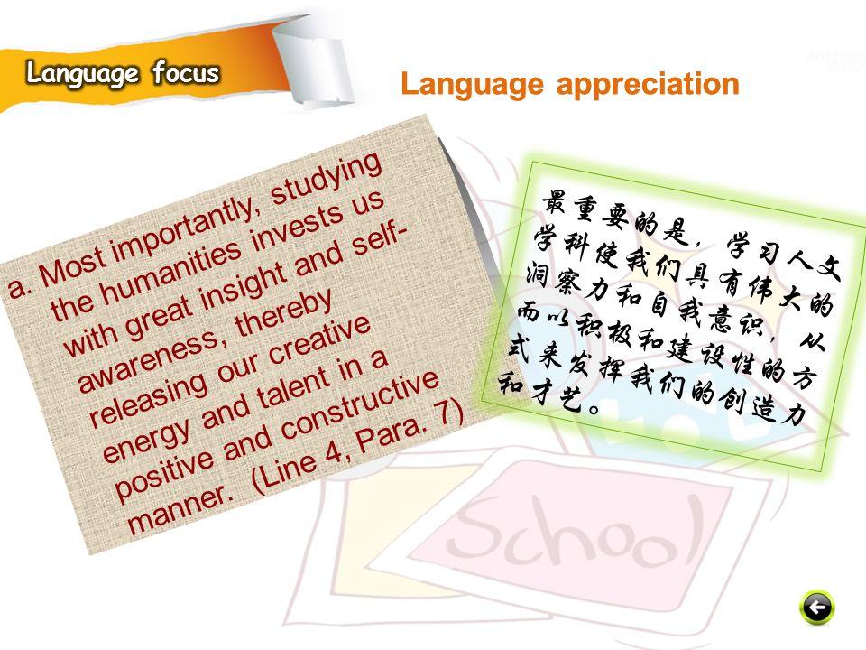 Language appreciation Language appreciation