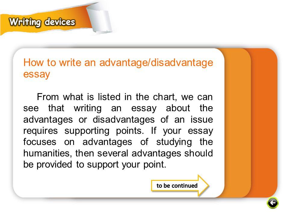 How to write an advantage/disadvantage essay